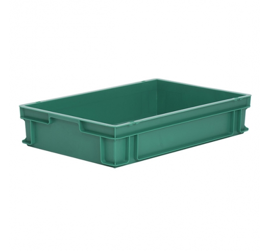 Green plastic stackable tray with solid sides and base