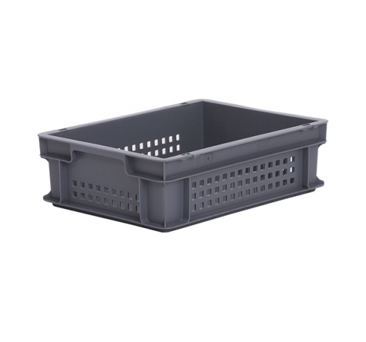Grey perforated Euro plastic container