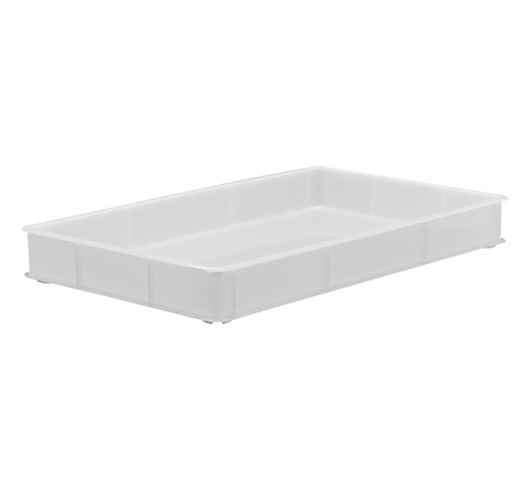 White Stacking Confectionery Trays with solid sides and base