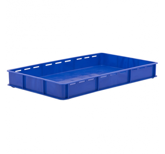 Blue Stacking Confectionery Trays Slotted sides and vented base