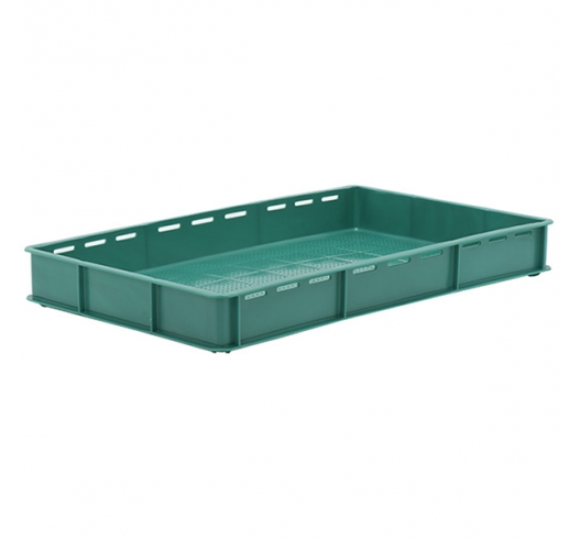 Green Stacking Confectionery Trays Slotted sides and vented base