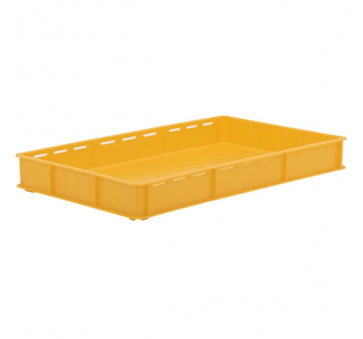 Yellow Stacking Confectionery Trays Slotted sides and vented base