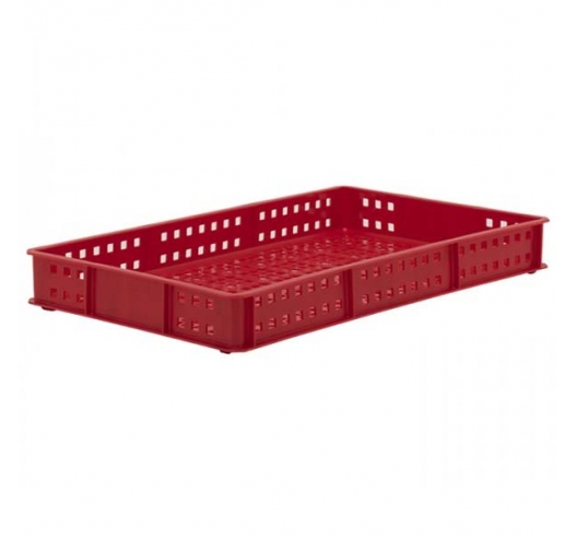 Red Stacking Confectionery Tray Ventilated sides and base