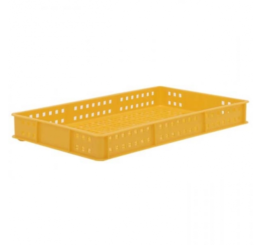 Yellow Stacking Confectionery Tray Ventilated sides and base