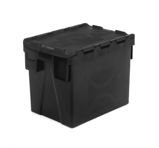 Black Recycled Attached Lid Container