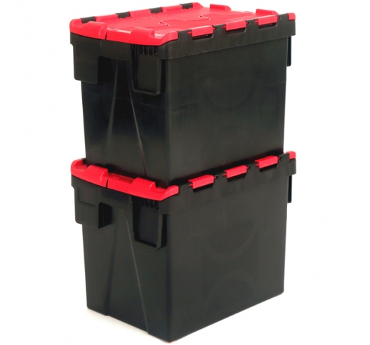 Black and Red Plastic Crates Stacked