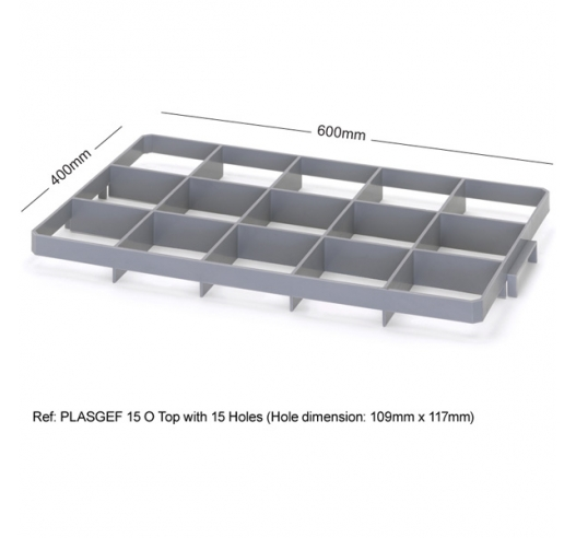 15 Hole Glass Divider / Bottle Crate Insert - Top Section