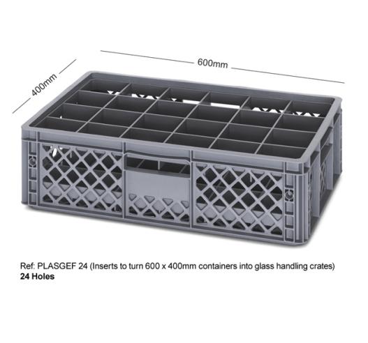 24 Holed Bottle Crate using Inserts PLASGEF 24