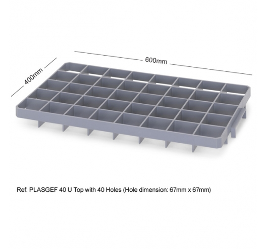 40 Hole Glass Divider / Bottle Crate Insert - Top Section
