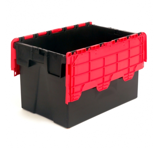 Plastic Container with Hinged Lids (Euro Standard) - Large 62 Litre Capacity