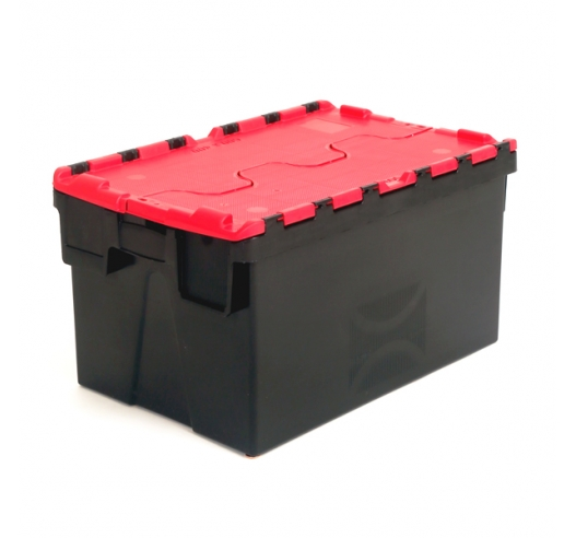 Plastic Crates with Red Lids and Black Body - 52 Litres