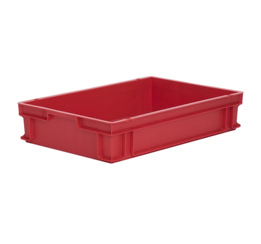 Food grade plastic trays in red, strong and stackable