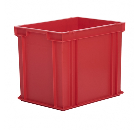 Red Euro containers that stack securely