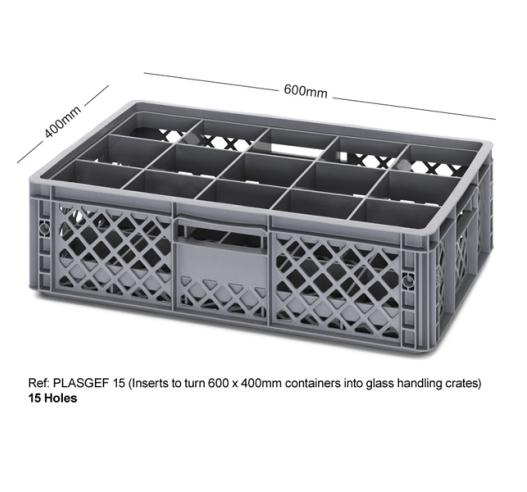 15 Holed Bottle Crate using Inserts PLASGEF 15