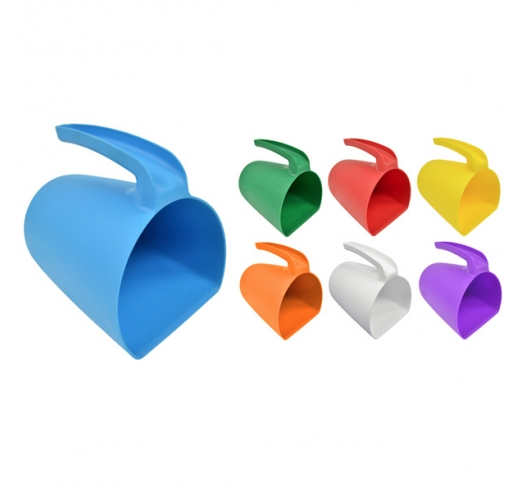 Blue, Red, Green, Orange, Purple, White Plastic Scoop Jugs