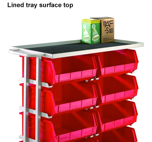 Lined tray surface top