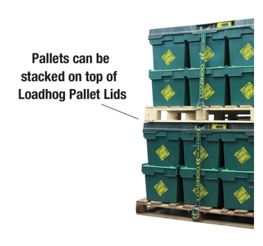 Loadhog pallet lids stacked on pallets