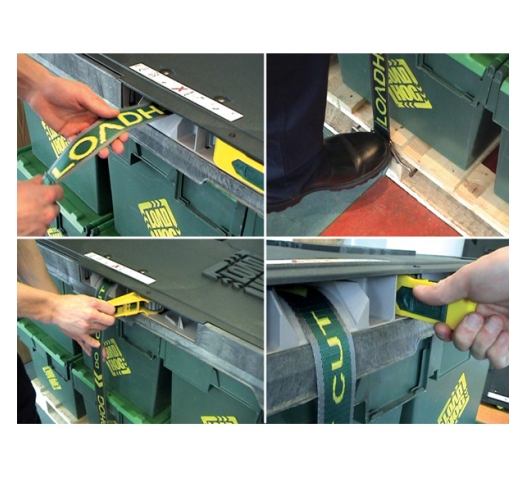 Loadhog pallet lid strap mechanism