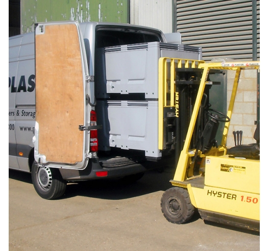 Plastic Pallet Boxes being loaded on to van with Forklift Truck