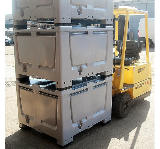 Extra Large Boxes with Pallet Feet on Forklift