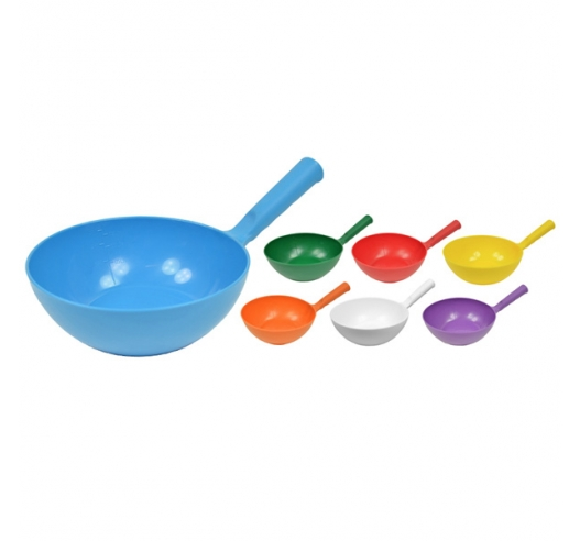 Round Plastic Bowl Scoop in Blue, Red, Yellow, Orange, White, Purple