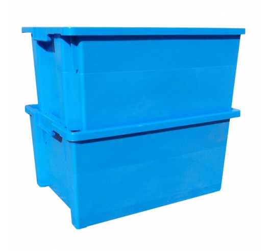 Large stackable and nestable food grade plastic containers