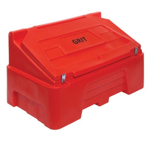 Red 400 litre grit bin