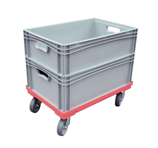 Red dolly with euro stacking containers