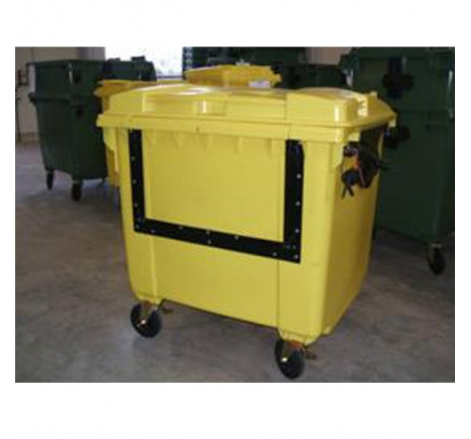 Large wheelie bin with drop front