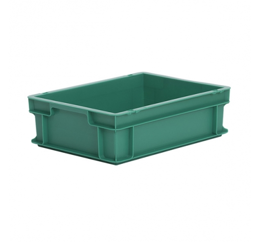 Green plastic euro container 120mm high - food grade