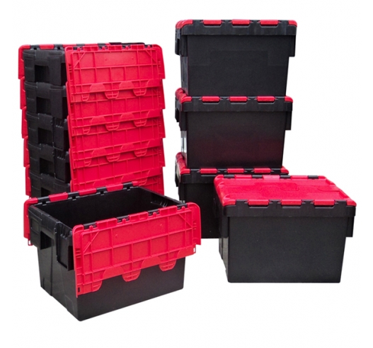 Black and Red Attached Lid Container 21 Litres
