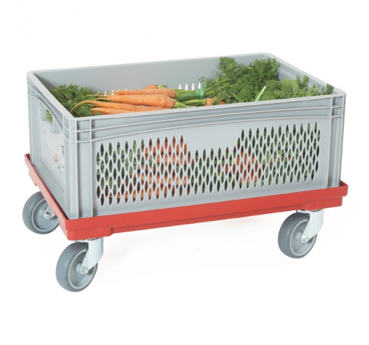 Ventilated Euro Container with Hand Holes on Dolly