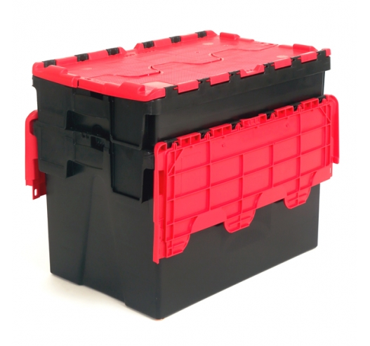 Black and Red Attached Lid Container Crates