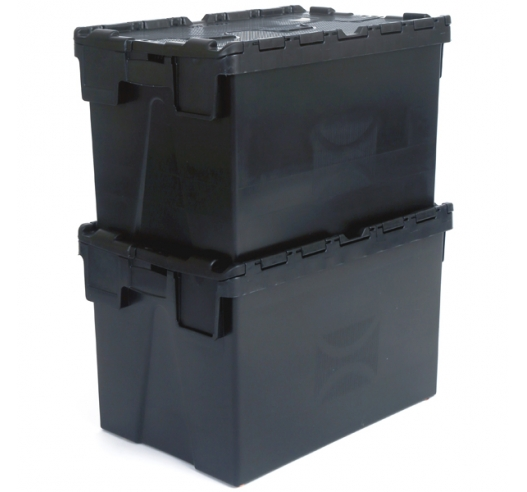 Stacked Black Plastic Containers