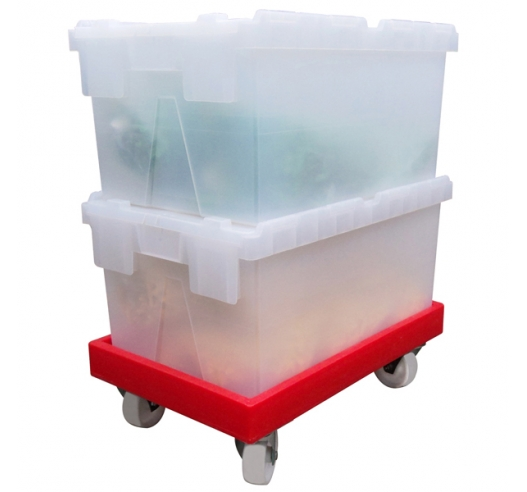 Clear Attached Lid Containers on Dolly (Wheeled Skate)