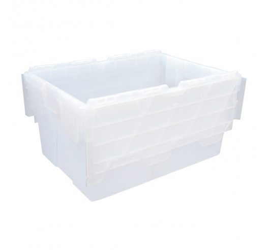 Clear (Transparent) Plastic Crates 55 Litre with Hinged Attached Lids