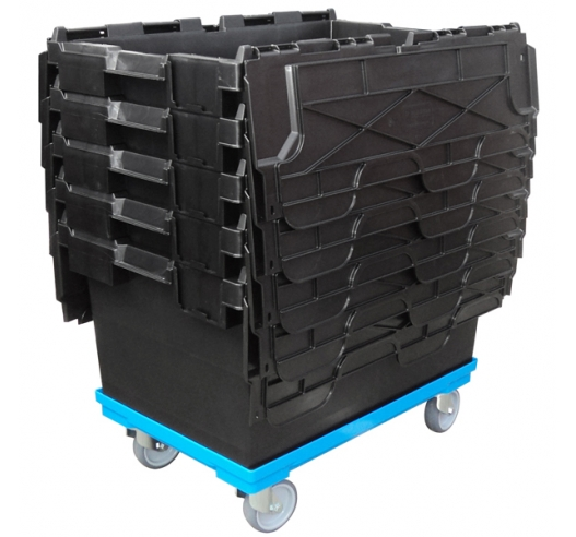 Nested 80 Litre Crates on Compatible Dolly (Wheeled Skate)