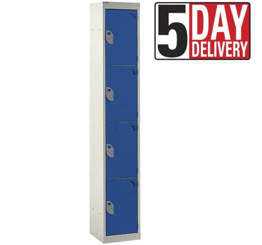 4 Door Steel Locker - 300mm depth in blue