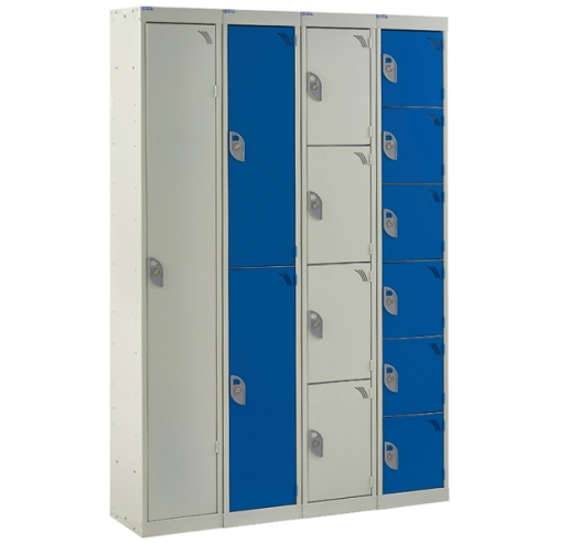 Blue and grey group of steel lockers