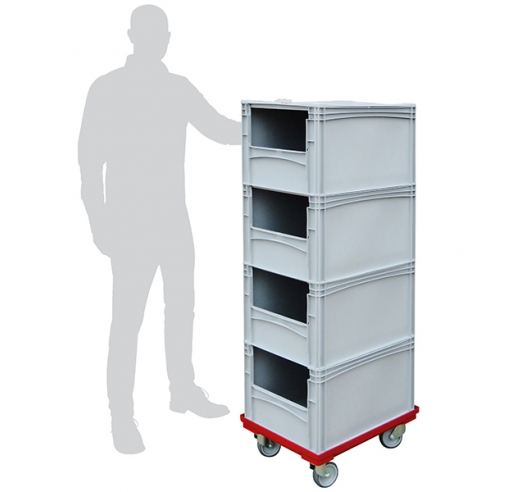Order Picking Trolley with 4 Open Front Euro Containers