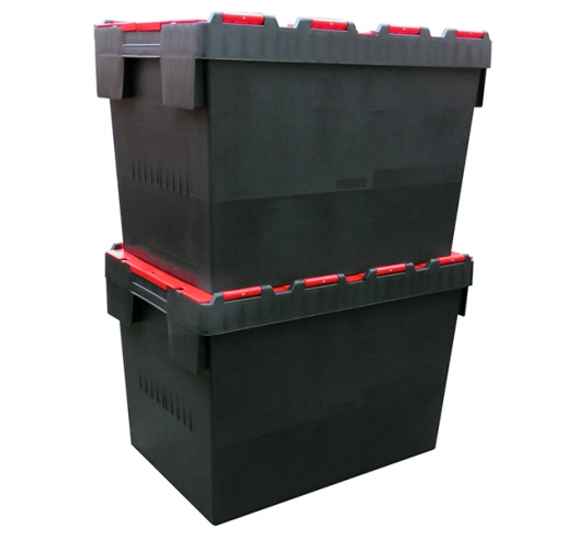 Stacked 80 Litre Crates