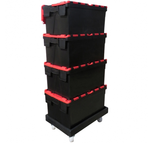 ROTO64D Black Recycled Dolly with Attached Lid Containers