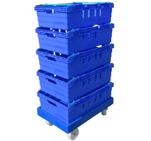 ROTO64D Blue Dolly with Bale Arm Containers