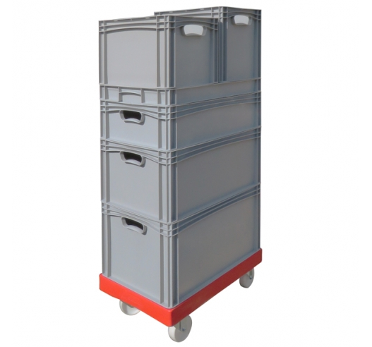 ROTO64D Red Dolly with Euro Stacking Containers