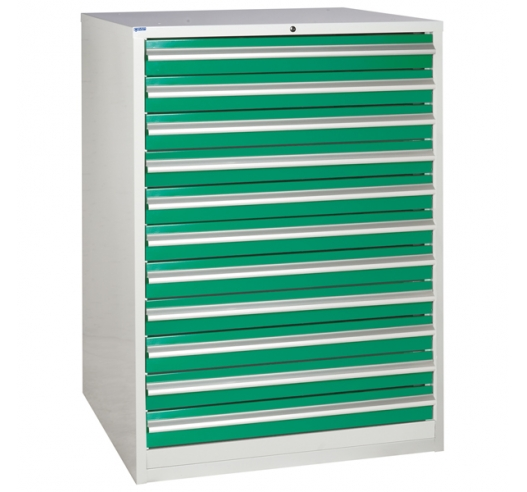 Euroslide cabinet with 11 drawers in green