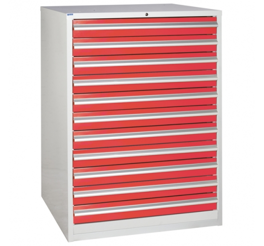 Euroslide cabinet with 11 drawers in red