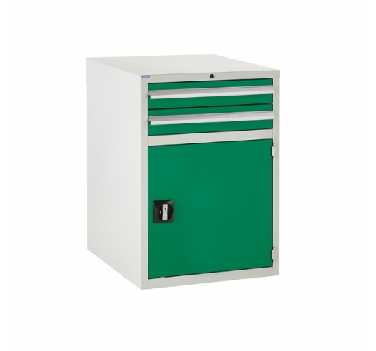 Euroslide cabinet with 2 drawers and 1 cupboard in green