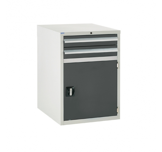 Euroslide cabinet with 2 drawers and 1 cupboard in grey