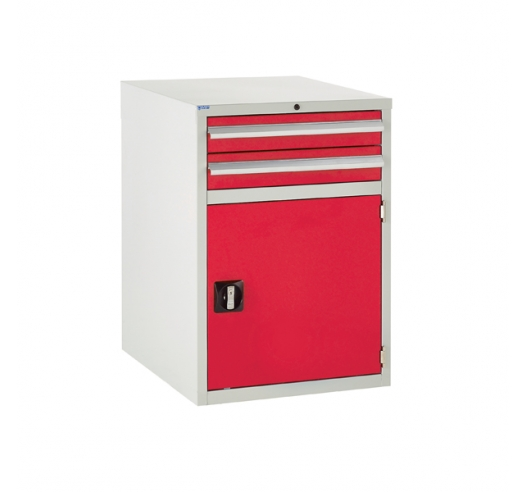 Euroslide cabinet with 2 drawers and 1 cupboard in red