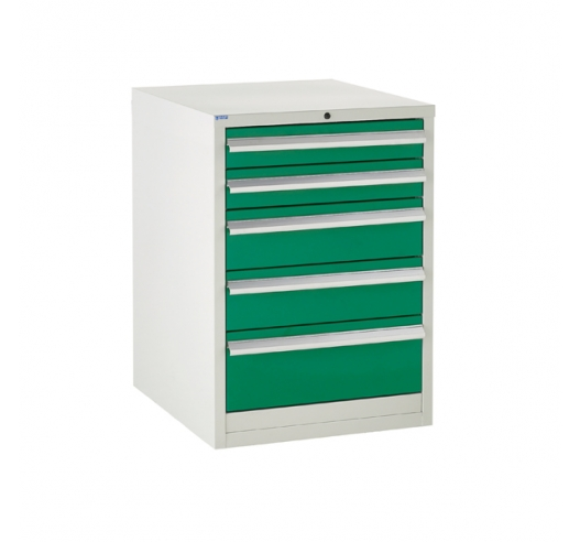 Euroslide cabinet with 5 drawers in green